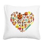 Cameroon World Cup 2014 Heart Square Canvas Pillow