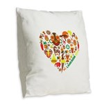Cameroon World Cup 2014 Heart Burlap Throw Pillow