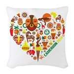 Cameroon World Cup 2014 Heart Woven Throw Pillow