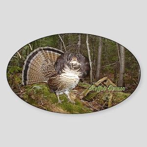 Strutting Grouse Oval Sticker