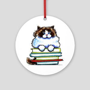 Ragdoll Cat Books Ornament (Round)