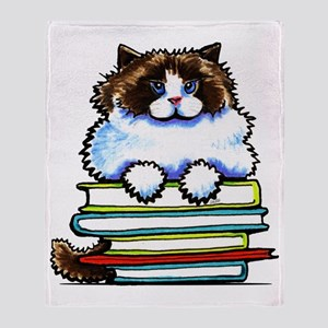 Ragdoll Cat Books Throw Blanket