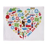 Chile World Cup 2014 Heart Throw Blanket