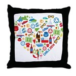 Chile World Cup 2014 Heart Throw Pillow