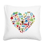 Chile World Cup 2014 Heart Square Canvas Pillow