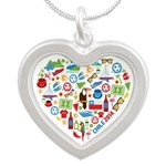 Chile World Cup 2014 Heart Silver Heart Necklace
