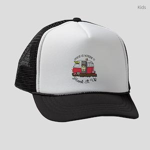 vintage red shasta Kids Trucker hat