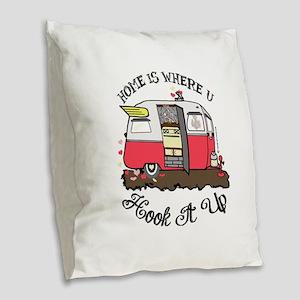 vintage red shasta Burlap Throw Pillow