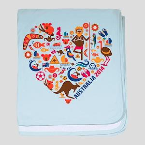 Australia World Cup 2014 Heart baby blanket