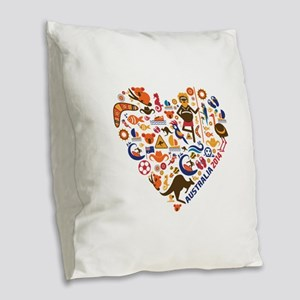 Australia World Cup 2014 Heart Burlap Throw Pillow