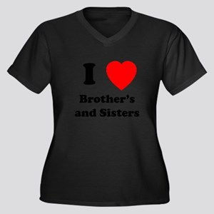 Bother's and Sisters Women's Plus Size V-Neck Dark