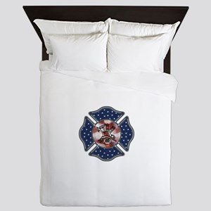 Patriotic Fire Dept Queen Duvet