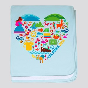 Colombia World Cup 2014 Heart baby blanket