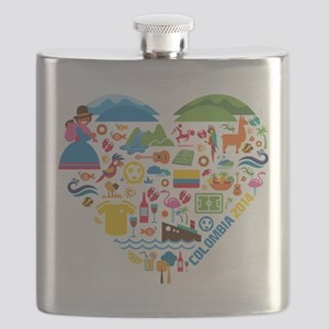 Colombia World Cup 2014 Heart Flask