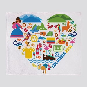 Colombia World Cup 2014 Heart Throw Blanket