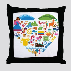 Colombia World Cup 2014 Heart Throw Pillow