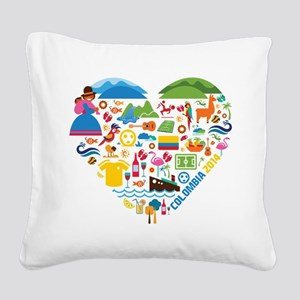 Colombia World Cup 2014 Heart Square Canvas Pillow