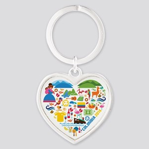Colombia World Cup 2014 Heart Heart Keychain