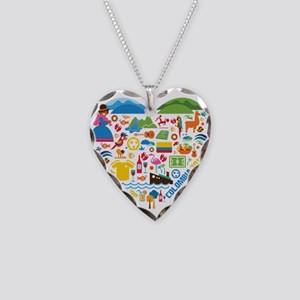 Colombia World Cup 2014 Heart Necklace Heart Charm