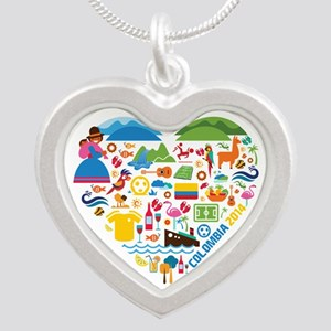 Colombia World Cup 2014 Hear Silver Heart Necklace