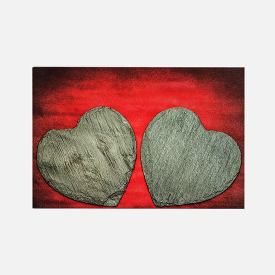 Stone Hearts Rectangle Magnet