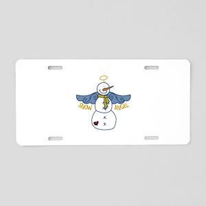 Snow Angel Aluminum License Plate