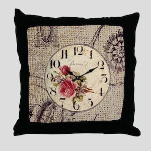 vintage paris clock french fashion decor Throw Pil