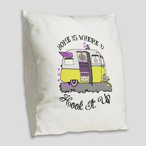 vintage yellow trailer Burlap Throw Pillow