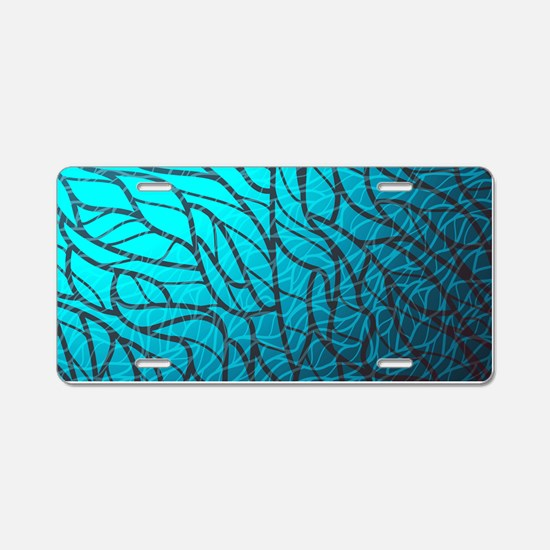 Teal Abstract Aluminum License Plate