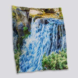 Small Waterfall Burlap Throw Pillow