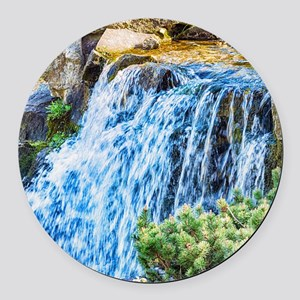 Small Waterfall Round Car Magnet