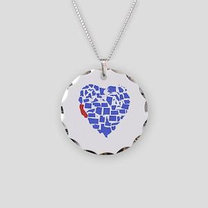 California Heart Necklace Circle Charm