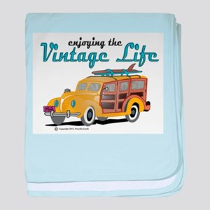 enjoying the vintage life woodie baby blanket