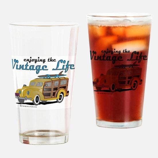 enjoying the vintage life woodie Drinking Glass