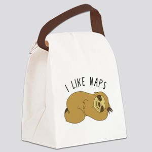 I Like Naps - Napping Sloth Canvas Lunch Bag