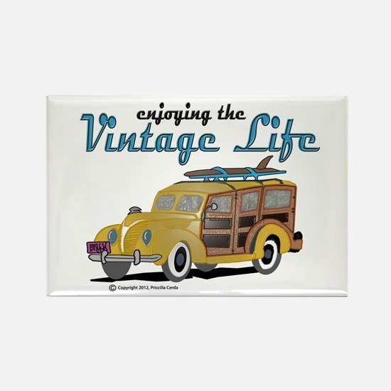 enjoying the vintage life woodie Magnets
