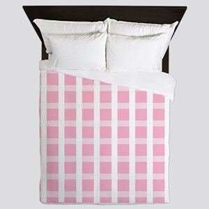 Pink and White Checked Queen Duvet