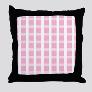 Pink and White Checked Throw Pillow