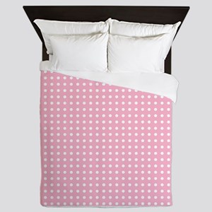 Pink with White Dots Queen Duvet