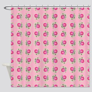 Pink Roses on Pink Shower Curtain