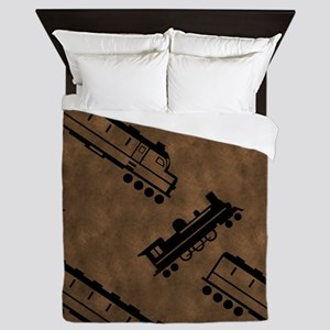 Vintage Trains Queen Duvet