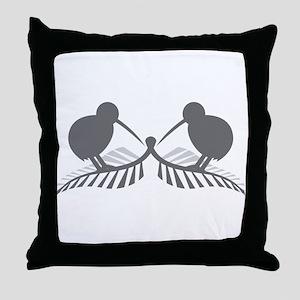 Two silver ferns and kiwi birds Throw Pillow