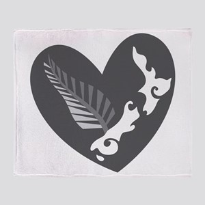 Love heart KIWI silver fern New Zealand Throw Blan
