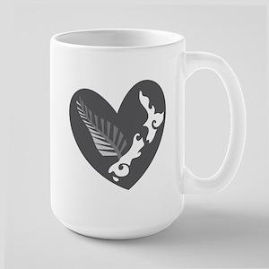 Love heart KIWI silver fern New Zealand Mugs