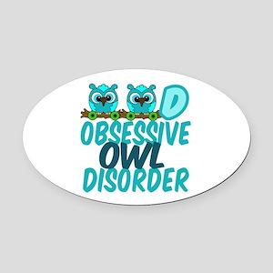 Cute Owl Oval Car Magnet