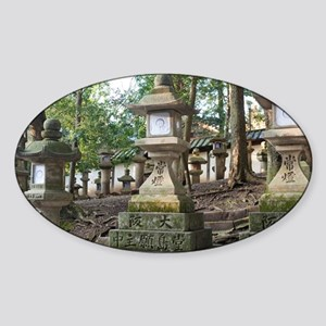 Japanese Stone Lamps Sticker (Oval)