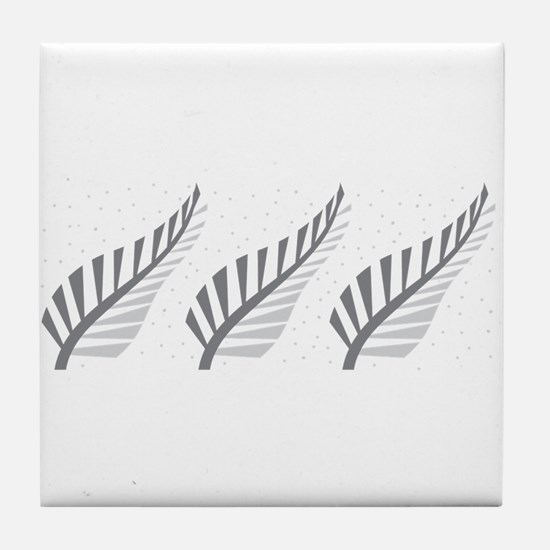 Three silver ferns Tile Coaster