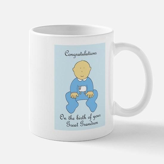 Congratulations on birth of great grandson. Mugs