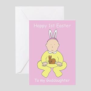 1st Easter for Goddaughter. Greeting Cards