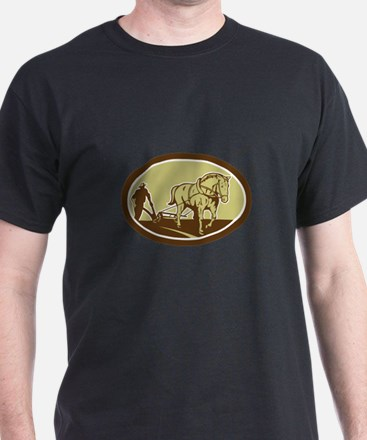 Horse and Farmer Plowing Farm Oval Retro T-Shirt